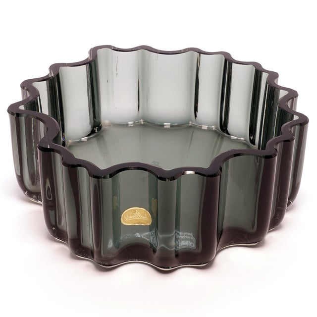 Glass 1960s Tapio Wirkkala Rosenthal Crystal Cogwheel Console Bowl For Sale - Image 7 of 7