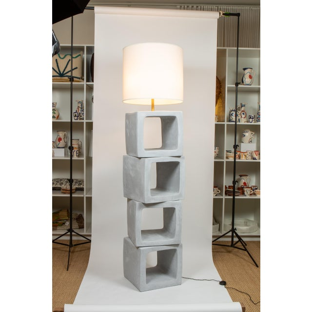 Contemporary Daniel Reynolds Plastered Block Standing Lamp For Sale - Image 3 of 3