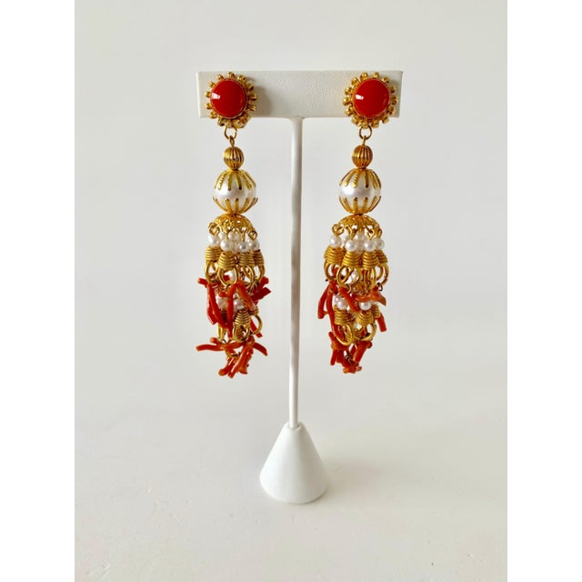 Vintage Pearl and Coral Chandelier Statement Earrings For Sale In Palm Springs - Image 6 of 13