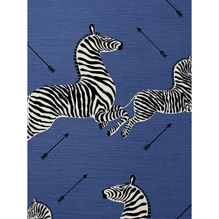 Sample, Scalamandre Zebras - Outdoor, Denim Fabric For Sale