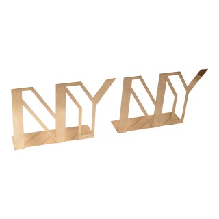 Mid-Century Modern Polished Brass New York Display Sculpture, Table Decoration For Sale