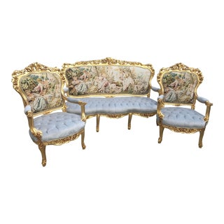 Italian Baroque Sofa & Chairs - Set of 3 For Sale