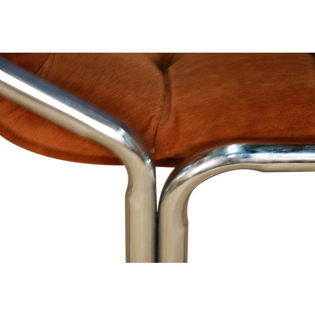 Brown Daystrom Mid Century Chrome High Back Dining Velour Chairs For Sale - Image 8 of 11