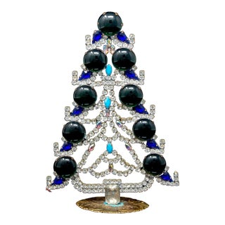 Vintage Czech Crystal and Rhinestone Mantle Christmas Tree For Sale