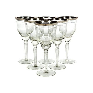 Double Silver-Banded Wine Stems - Set of 6 For Sale