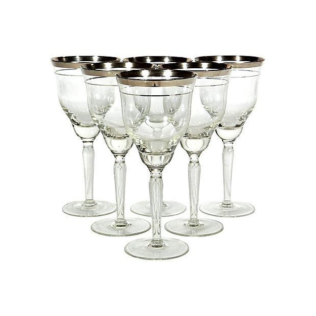 Double Silver-Banded Wine Stems - Set of 6 - Image 1 of 3