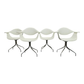 Mid Century Modern George Nelson Herman Miller White Swag Leg Molded Chairs- Set of 4 For Sale