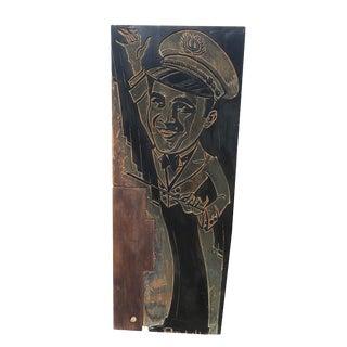 Carved Wood Block Art Deco Bandleader-Poster Size For Sale