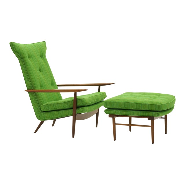 Rare George Nakashima for Widdicomb High Back Lounge Chair and Ottoman For Sale