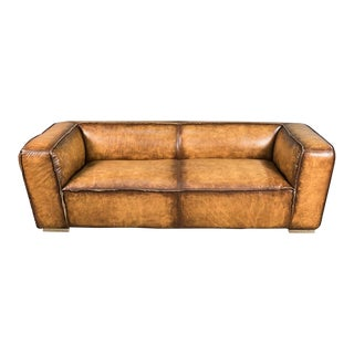 Brennan Leather & Steel Sofa For Sale