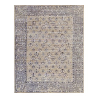 """Turkish Handwoven Champagne Wool Oushak Rug - 7'9"""" X 9'9"""" For Sale"""