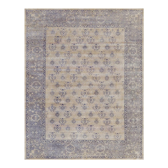 "Turkish Handwoven Champagne Wool Oushak Rug - 7'9"" X 9'9"" For Sale"
