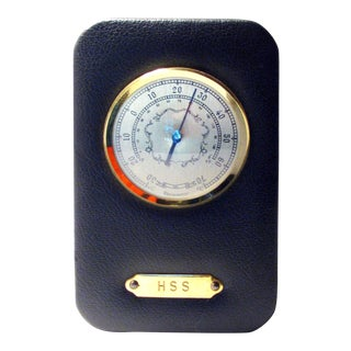 Vintage English Leather & Brass Thermometer For Sale