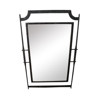 Custom Hand Forged Studio Iron Frame Wall Mirror For Sale