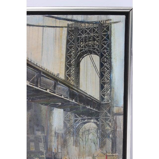 "Mid-Century Modern Mid-Century M. Kaplan ""Brooklyn Bridge"" Oil on Canvas Painting For Sale - Image 3 of 11"