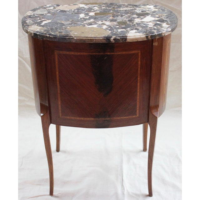 Bronze 1920s Louis XVI Style Mahogany Marquetry Commode For Sale - Image 7 of 10