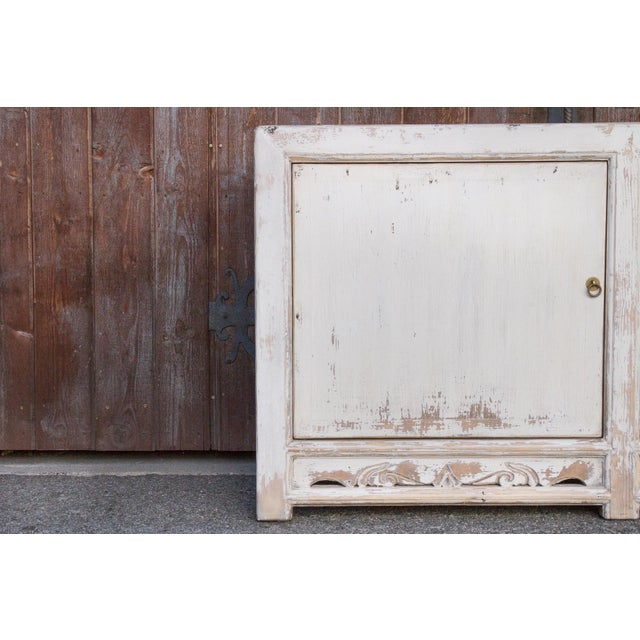1950s Antique White Farmhouse Rustic Asian Cabinet For Sale - Image 5 of 11