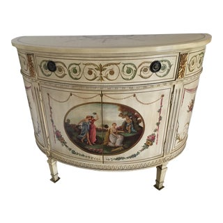 Vintage Adams Style Hand Painted Demilune Commode For Sale