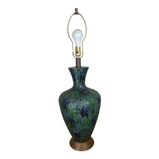 Vintage Blue Lava Glaze Table Lamp For Sale