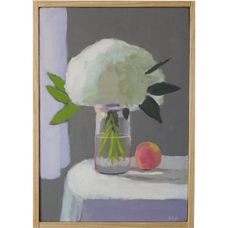 White Hydrangea With a Peach by Anne Carrozza Remick For Sale
