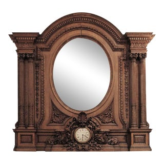 Antique Carved Over Mantel Mirror With Clock