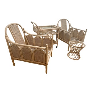 Vintage Mid Century Bamboo Rattan & Cane Patio Furniture, 4 Pieces For Sale