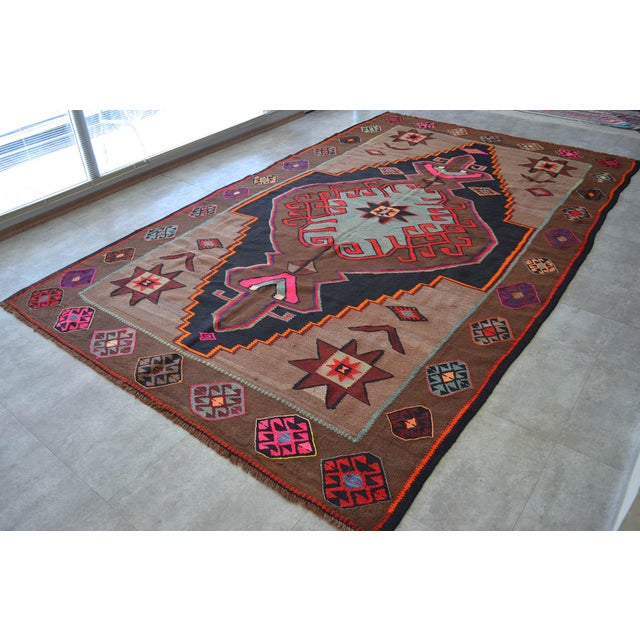 Boho Chic Handwoven Turkish Kilim Rug Anatolia Rug - 7′1″ X 11′6″ For Sale - Image 3 of 10