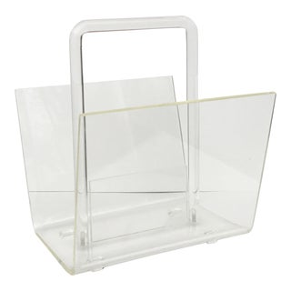 1970s Mid-Century Modern Lucite Magazine Rack For Sale