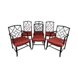 Image of Mid-Century Set 6 Tommi Parzinger Style Black Lacquer Dining Chairs For Sale