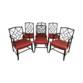 Mid-Century Set 6 Tommi Parzinger Style Black Lacquer Dining Chairs For Sale