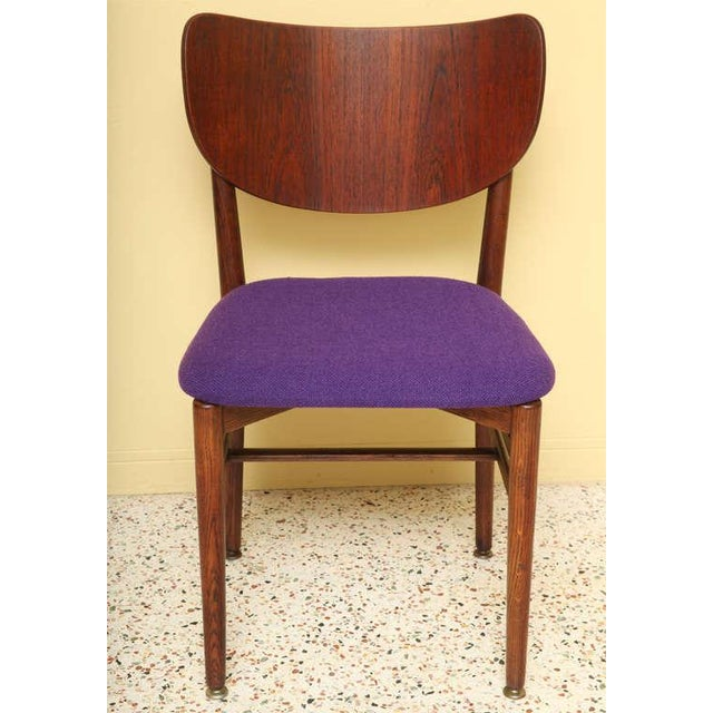 Fabric Set of 4 Eva & Nils Koppel Mid-Century Modern Fumed Oak Dining Chairs For Sale - Image 7 of 8