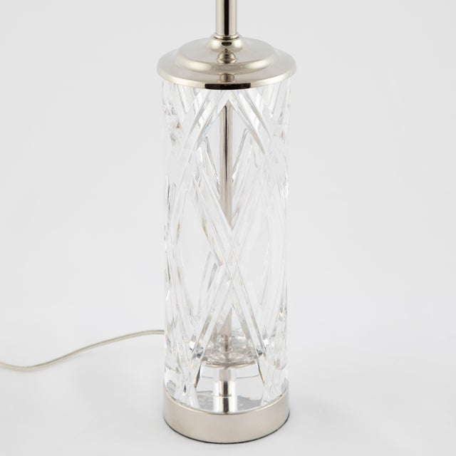 These lovely lamps by Olle Alberius for Orrefors have a heavy crystal base with a hand-cut cross-hatch pattern on the...