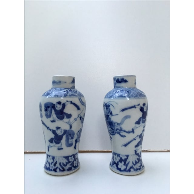 Antique Blue & White Samurai Vases - A Pair - Image 2 of 6