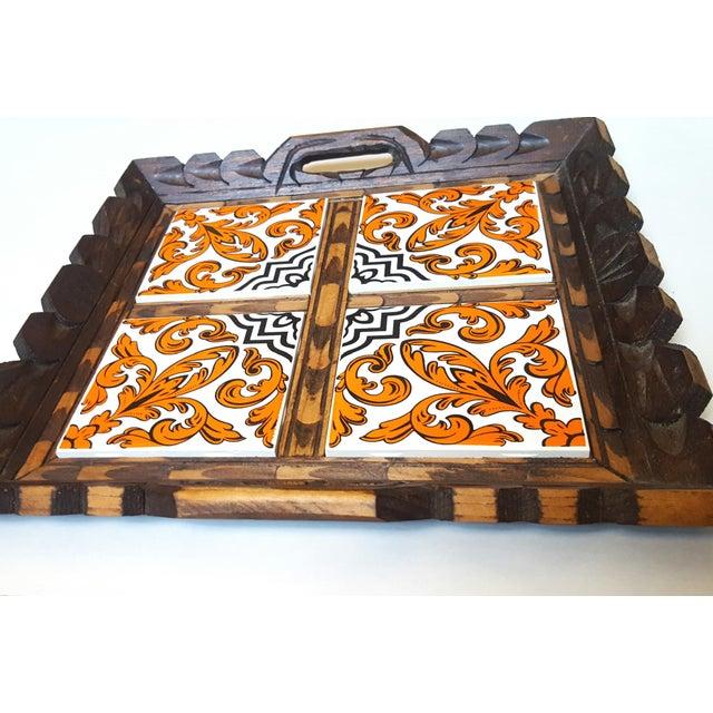 Boho Chic Serving Tray Wood & Tile Hand Carved Wooden Trivet Hot Pad Vintage Kitchen Barware For Sale - Image 3 of 7