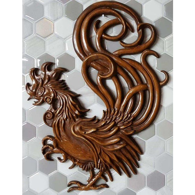 1960s 1960s Vintage Fighting Roosters Wall Decor- A Pair For Sale - Image 5 of 11