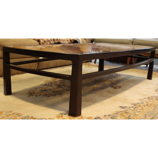 For your consideration is a Dunbar X-large coffee table in finished walnut and mahogany with original tag. In good...