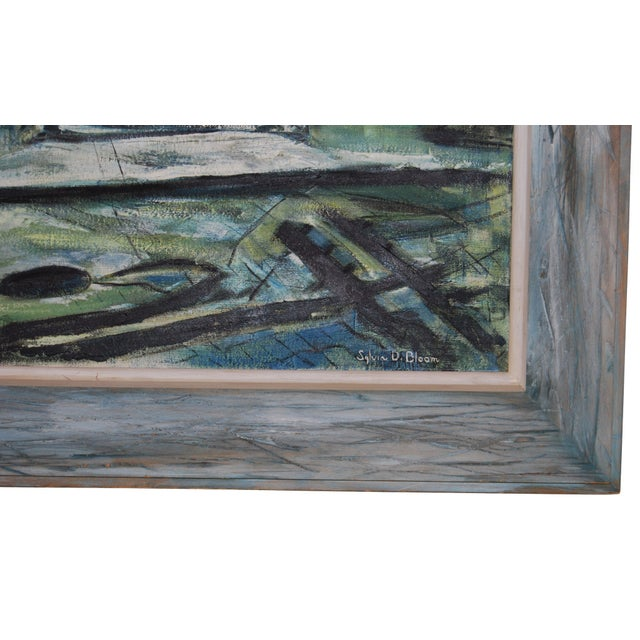 Blue 1960s Blue-Tone Oil Painting For Sale - Image 8 of 9