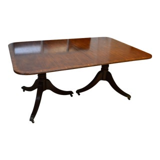 20th Century Baker Mahogany Banded Dining Table For Sale