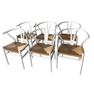 Set of Six White Wishbone Dining Chairs---Style of Wegner For Sale