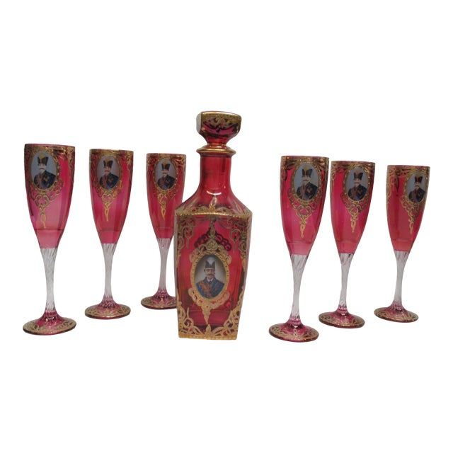 Antique Bohemian Flue Glasses With Shah of Persia and Decanter For Sale