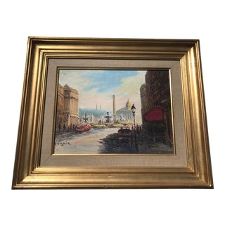 French Impressionist Paris Maxims Cafe Framed Oil Painting on Canvas by Georges Gerbier For Sale