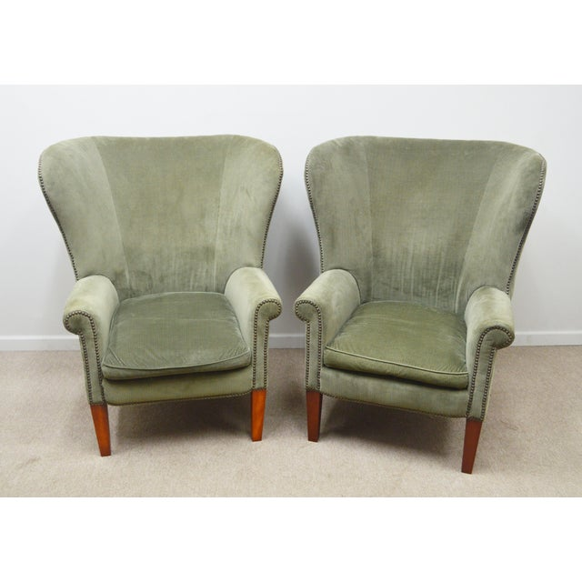 Pair Ralph Lauren Upholstered Arm Chairs For Sale - Image 11 of 11