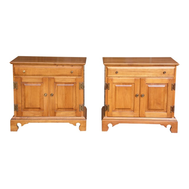 Pair Beal's Solid Rock Maple Nightstands Bedside Cabinets End Tables Record Cabinet For Sale