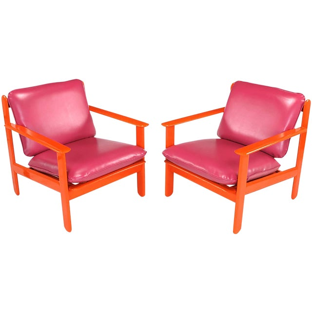 Pair of Italian Persimmon and Magenta Lounge Chairs For Sale