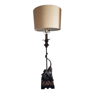 Antique Yunho Monkey Table Lamp With Resin Base and Shade For Sale