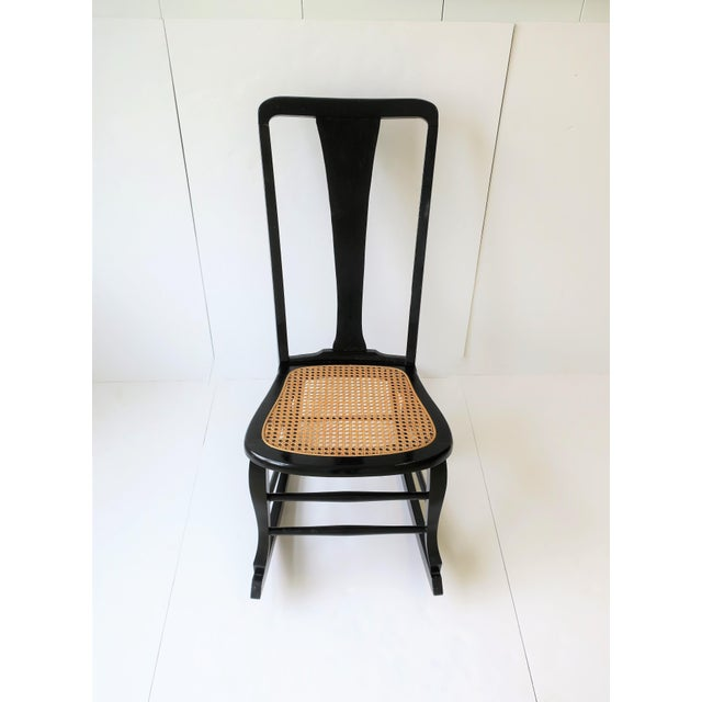 Vintage Mid Century Black Lacquer and Cane Rocking Chair For Sale In New York - Image 6 of 13
