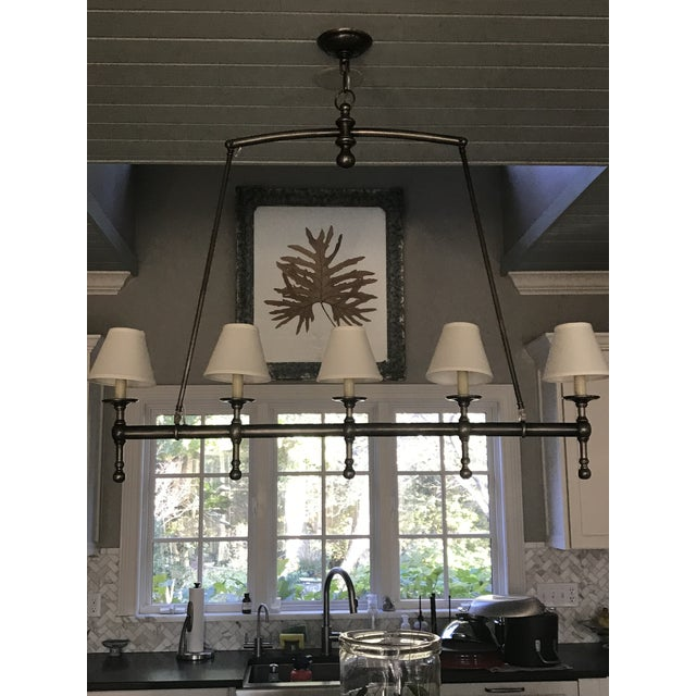 Classic Visual Comfort 5 light pendant in antique nickel with off white silk shades. Ideal for over kitchen island, dining...