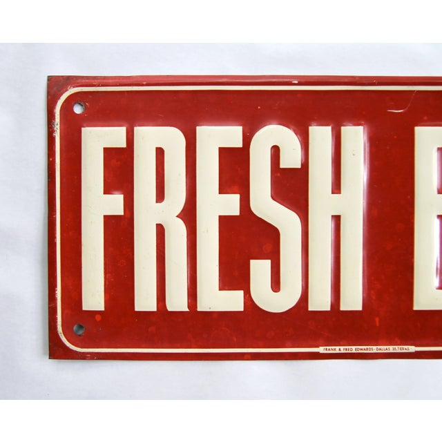 """Circa 1940s red and white metal Fresh Eggs sign marked """"Frank & Fred Edwards - Dallas 35, Texas on bottom of front. Sign..."""