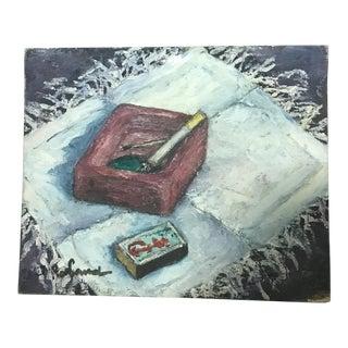 French Cigarette Matches & Ashtray Still Life Painting
