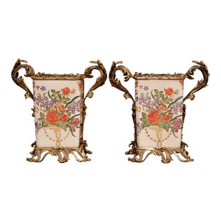Pair of Chinese Porcelain Painted and Bronze Mounted Floral Decorated Vases For Sale